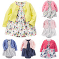 2016 новый Детская одежда набор 2 шт. Девушка Платье + пальто, Vestido Ropa Bebe Menina, Прекрасный Девушка Новорожденный Одежда Набор, детская одежда