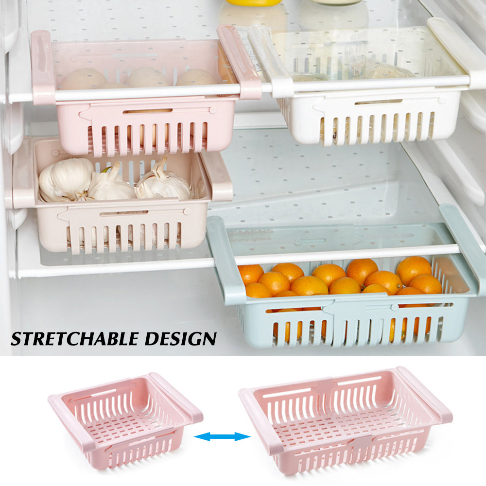 Adjustable Stretchable Multifunction Kitchen Refrigerator Storage Rack Fridge Freezer Shelf Holder Pull-out Drawer Organiser(China)
