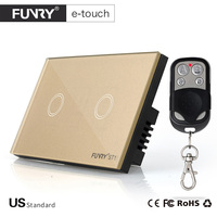 Funry US Standard 2Gang Wireless Touch Remote Control Wall Light Switch 15M Control AC110 250V Compatible