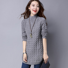 Autumn And Winter Female Long Sweater Half Turtleneck Solid Sweater Female Turtleneck Sweaters Loose Sweater