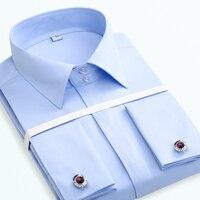 French Cuff Button Men Dress Shirts Long Sleeve Men S Solid Tuxedo Shirts Male Wedding Bridegroom