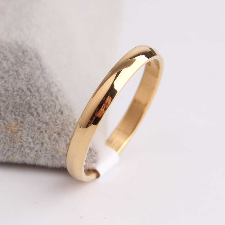 free shipping 3mm gold color Smooth Light 316L Stainless Steel finger rings for women wholesale