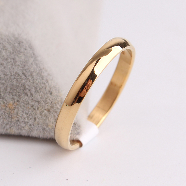 free shipping 3mm gold color Smooth Light 316L Stainless Steel finger rings for