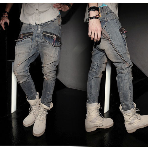 959ddf934 Venta caliente y personalidad modernos Distrressed doble cremalleras Denim  Jeans hombre Jeans Harem S   28 34 en de en AliExpress.com