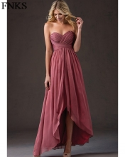 Cheap Burgundy Chiffon Bridesmaid Dress Ankle Hi-lo Sweetheart Tiered Wedding Party Gowns vestido madrinha longo PB22