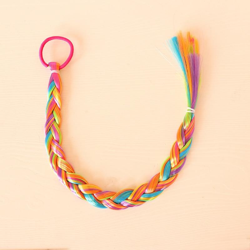 Girls Colorful Wigs Ponytail Hair Ornament Headbands Elastic Hair Bands Beauty Hairbands Headwear Makeup Kids Hair Accessories