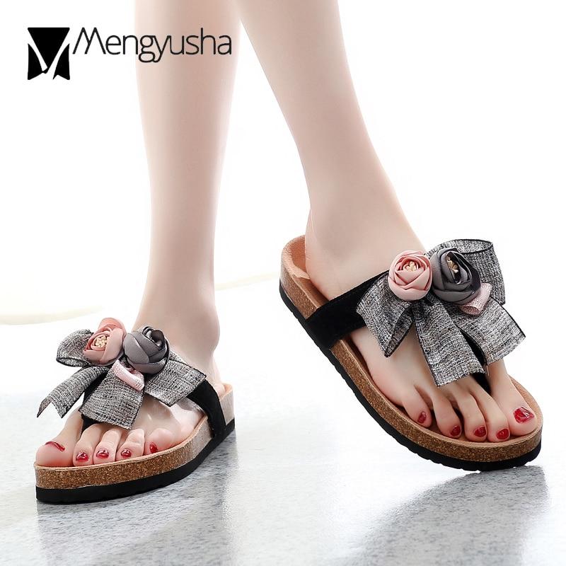 fe48fa2b2 cow leather 3D flower cork sandals women thong flip flops big bow-knot cork  slippers