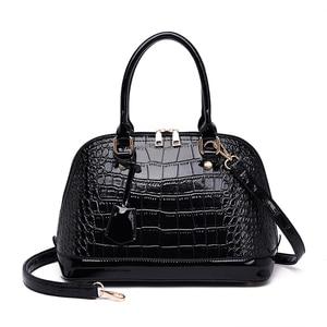 Image 3 - 2019 Famous brand design handbag women fashion Red tote bag high quality Patent leather shoulder handbag ladies office Shell bag