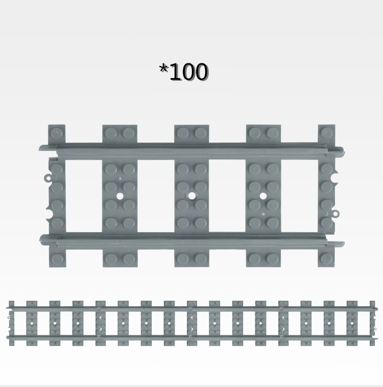 50-100 Pcs/Lot City Straight Rails Trains Train Track Rail Building Blocks Set Bricks Creator Model Toys Compatible Legoings