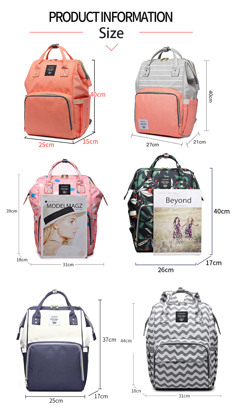 Lequeen Mommy Diaper Bag Baby Mummy Carriage Backpack Mother Changing Bag Maternity Bag Care Stroller Large Capacity Nappy Bag