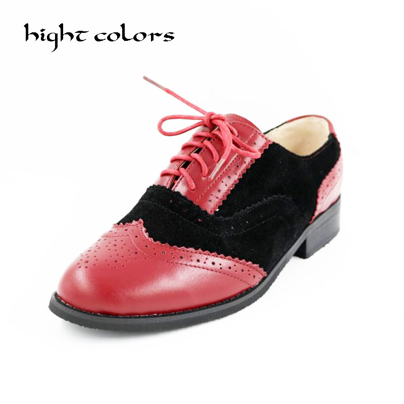 2018 Fashion British Style Oxford Brogue Shoes For Women Vintage Carved Bullock Genuine Leather Flat Shoes Women Oxfords brand new spring men fashion lace up leather retro brogue shoes casual flat breathable carved shoes bullock oxfords shoes wb 55