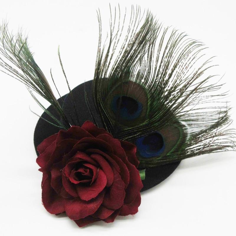 Retro Women Black Gothic Mini Top Hat Victorian Steampunk Hairclip - Կարնավալային հագուստները