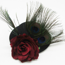 Retro Ženske Črna Gothic Mini Top Hat Viktorijanski Steampunk Hairclip Peacock Feather Rose Lasni dodatki Božični dar