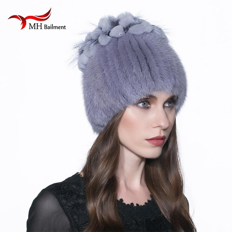 Femmes de Fourrure De Vison Chapeau Hiver Chaud Réel De Fourrure De Vison  Chapeau Russie Style