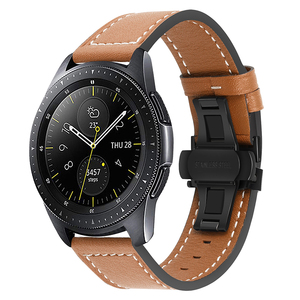 Image 4 - Genuine Leather Watchband for Samsung Galaxy Watch 42mm 46mm/ Active/ Active2 40mm 44mm Quick Release Band Butterfly Clasp Strap