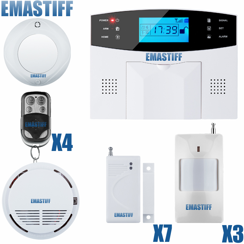 English Russian Spanish French Voice Wireless GSM Alarm system Home security Alarm systems LCD Keyboard Smoke Sensor wireless wired alarm systems security home lcd speaker keyboard sensor gsm alarm system russian spanish french language