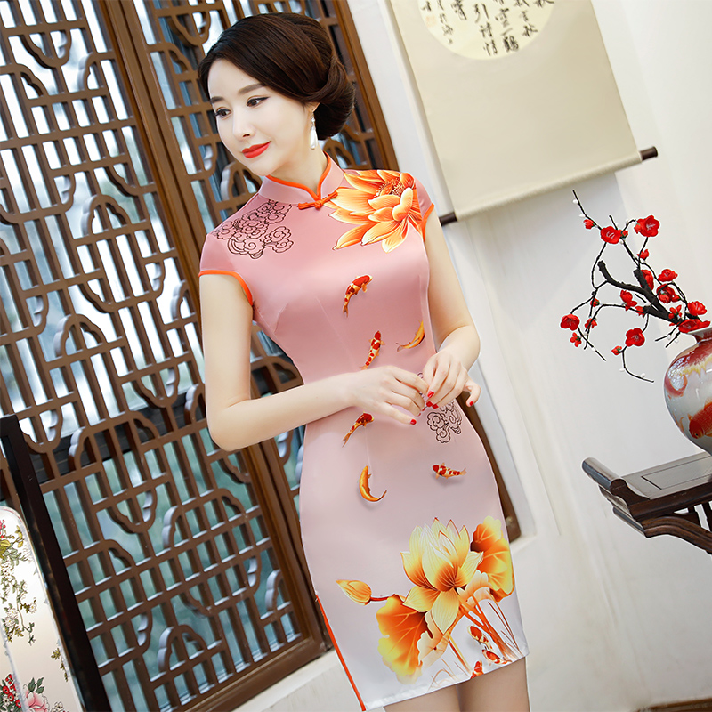 New Arrival Women's Satin Mini Cheongsam Fashion Chinese Style Dress Elegant Slim Qipao Clothing Size S M L XL XXL 368483 13