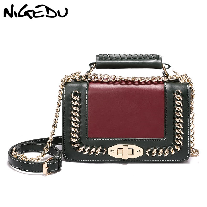 NIGEDU Fashion chain women crossbody bags small female PU leather handbags Famous brands messenger bags for women Shoulder Bags