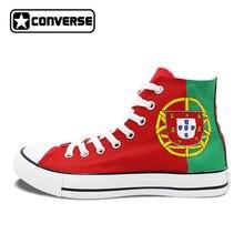 Высокие Converse All Star флаг Португалия пользовательские Дизайн ручной росписью обувь красный холст кроссовки Для мужчин Для женщин Подарки на день рождения