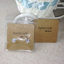 Wholesale Free Shipping Hot New DIY Hand Made With Love Kraft Earring Card For 1 Pair