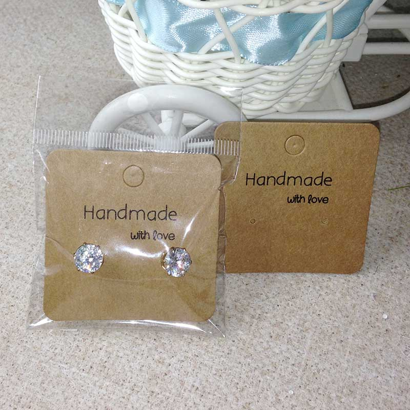 Wholesale Free Shipping Hot New DIY Hand font b Made b font With Love Kraft Earring