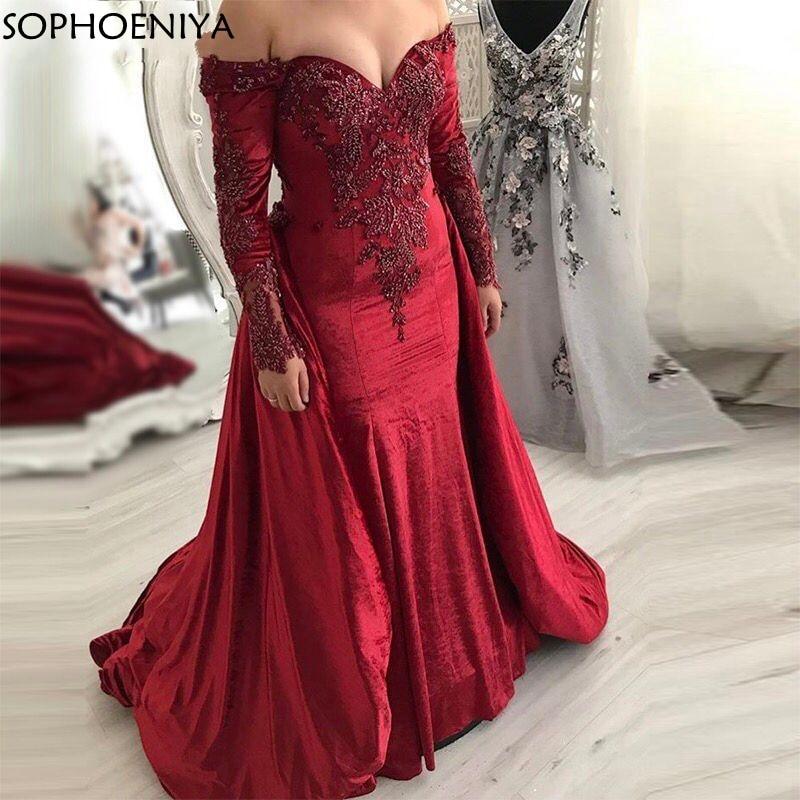 New Arrival Burgundy Dubai Kaftan Evening dress Abendkleider 2019 Arabic Women Evening Dresses Party dress robe de soiree longue