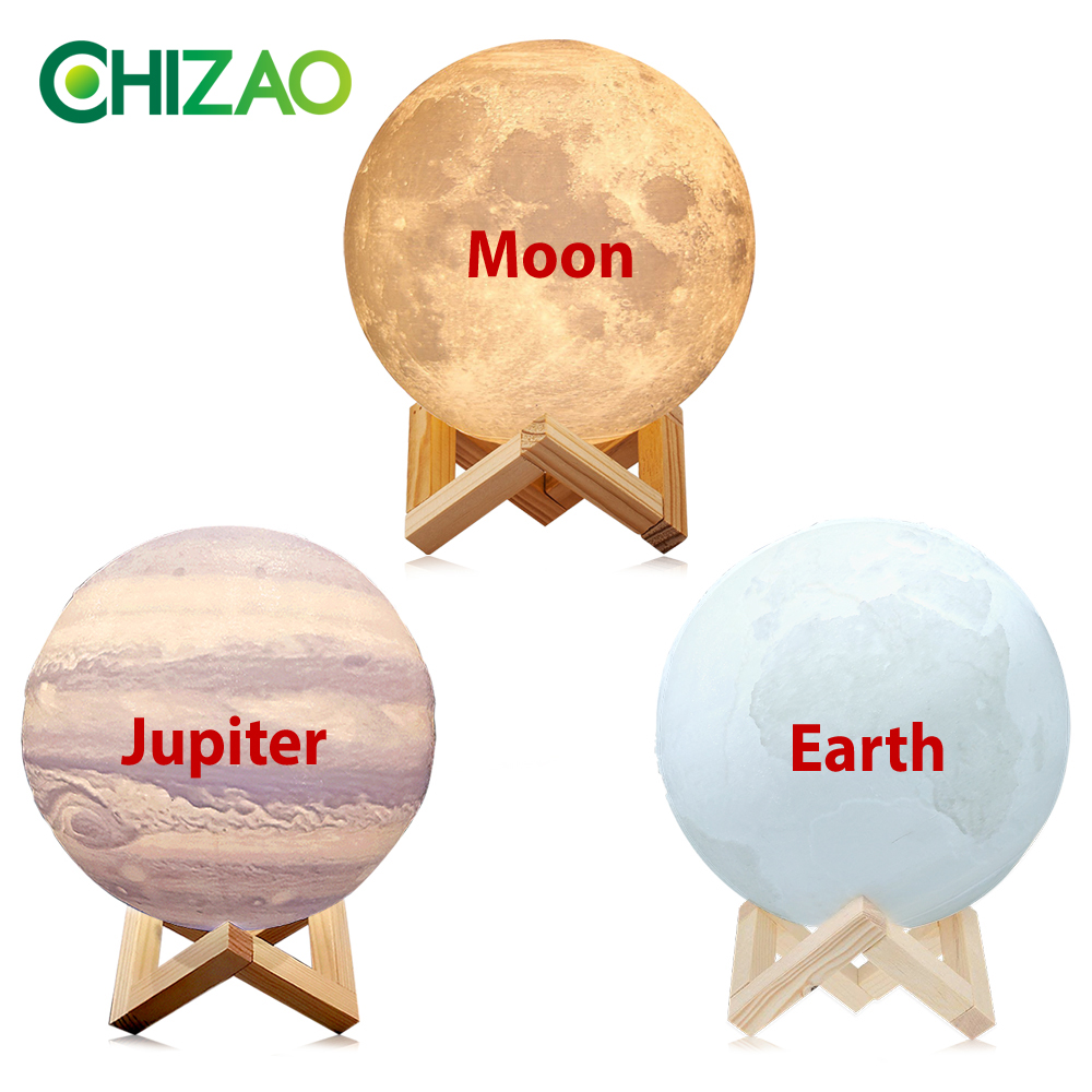 Image 5 - CHIZAO 3D Print LED Lamp Moon Earth Jupiter Home Bedroom Decor Creative Mood Night Light USB Recharge Touch Pat Control Colorful-in LED Night Lights from Lights & Lighting