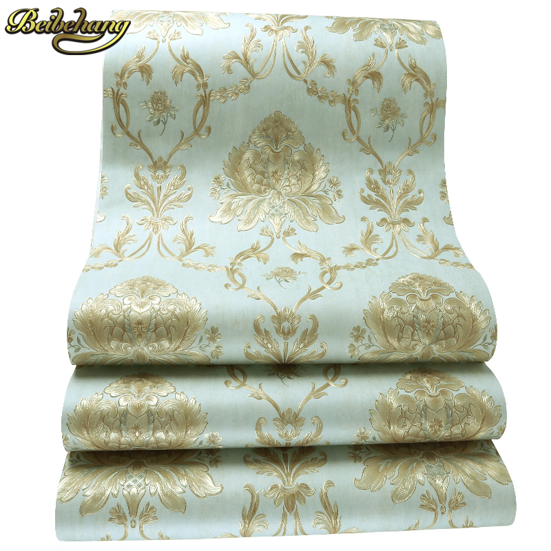 beibehang papel de parede. wall covering metallic damask classic wall paper blue background wallpaper for living room bedroo wholesale classic wall paper wall damask wallpaper golden floral wall covering 3d velvet living room home background decor