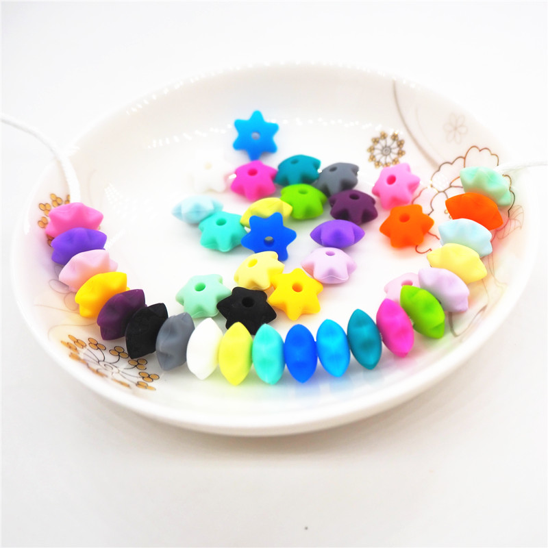 Chenkai 100pcs 10mm BPA Free Silicone Star Teether Beads DIY Baby Shower Pacifier Dummy Necklace Jewelry Toy Gift Accessories in Baby Teethers from Mother Kids