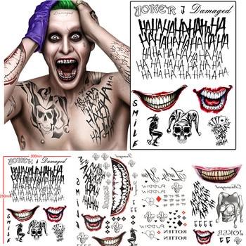 Batman The Joker Tatuaggi Temporanei Sticker Suicide Squad Harley Quinn Costume Cosplay Prop