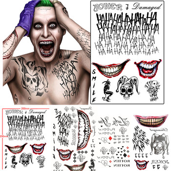 Batman The Joker Tatuaggi Temporanei Sticker Suicide Squad Harley Quinn Costume Cosplay Prop