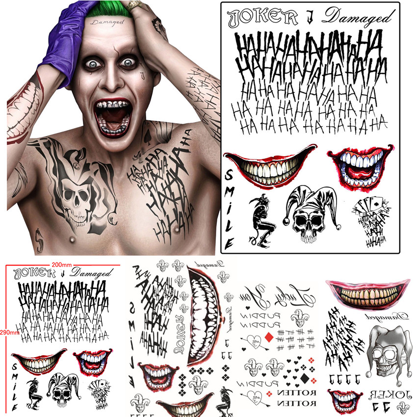 Batman The Joker Temporary Tattoos Sticker Suicide Squad Harley Quinn Cosplay Costume Prop