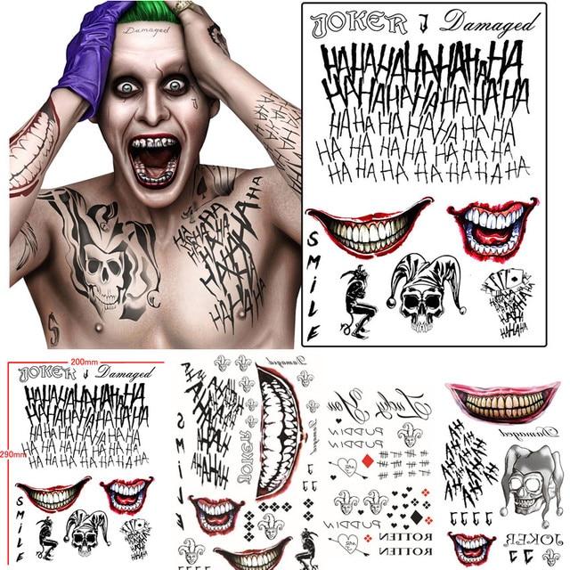 963f4fa57 Batman The Joker Temporary Tattoos Sticker Suicide Squad Harley Quinn  Cosplay Costume Prop