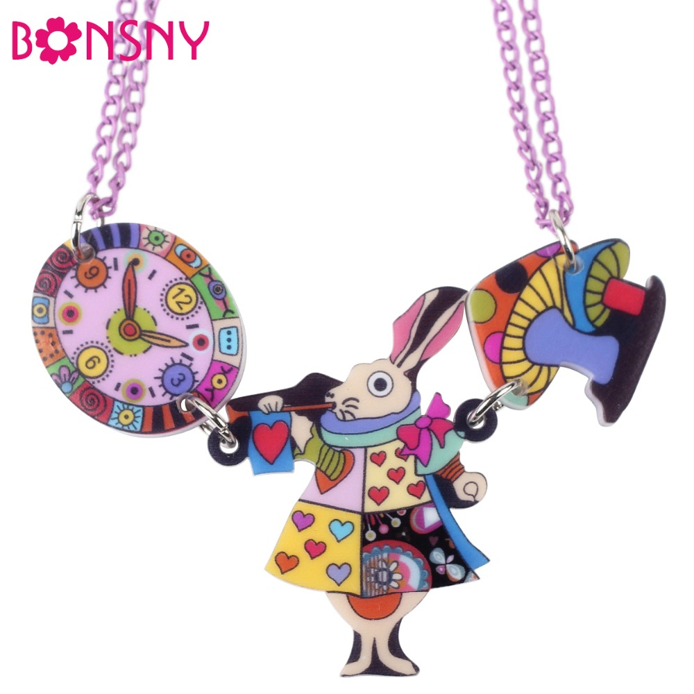 Bonsny King Mouse Rabbit Clock Necklace Acrylic Pendant 2016s