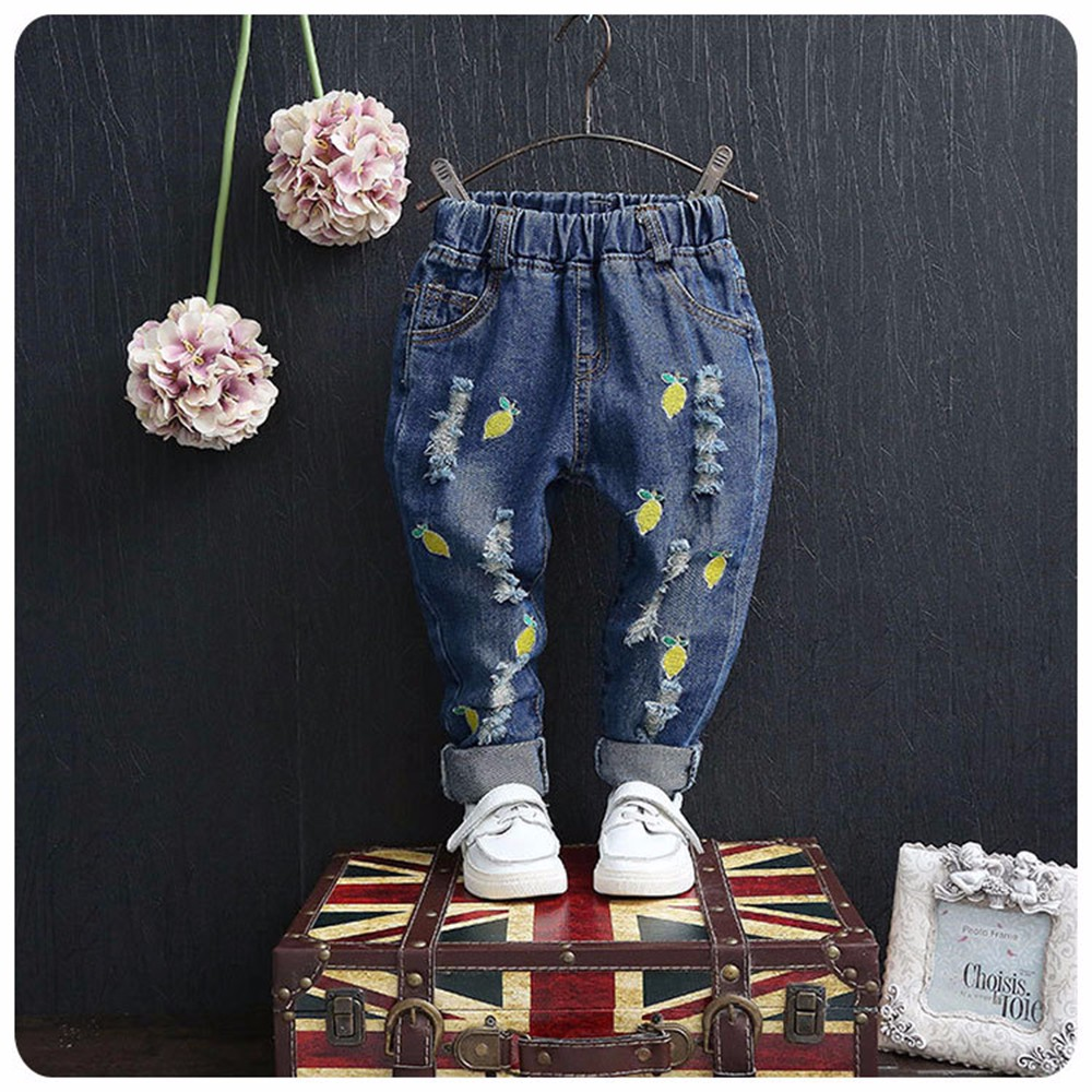 70383f9493e215 3 10yrs crianças jeans meninos de jeans buraco quebrado frutas impresso  calças de brim meninas primavera & outono crianças calças crianças ...
