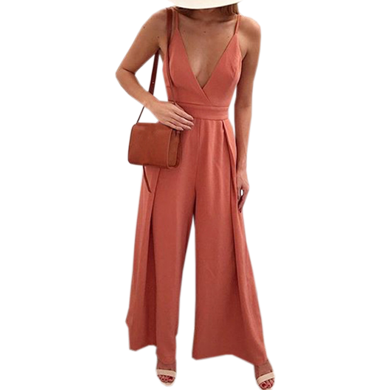 Sexy Women Blackless Bow Deep V-Neck Spaghetti Strap Jumpsuits Solid Summer Jumpsuit Fashion Wide Leg Pants 2018 Plus Size GV282