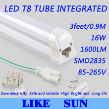 Free shipping 50pcs/lot Integrated T8 3feet 900mm 16W SMD2835 1600lm 85-265V white/warm white/cool white led tube light