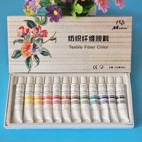 12 colori 12 ml Pitture Tessuto Tessile Panno set pittura Acrilica vernice Disegno di Arte della penna set Deco Art