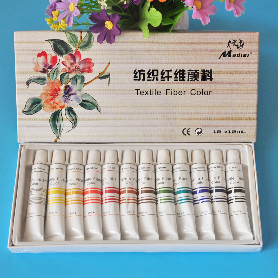 12colors 12ml Textile Fabric Paints set Cloth painting Acrylic paint Drawing Art pen set Deco Art 18 colors 12ml acrylic paints set paints wall textile spray paint fabric paint art supplies with gift brush