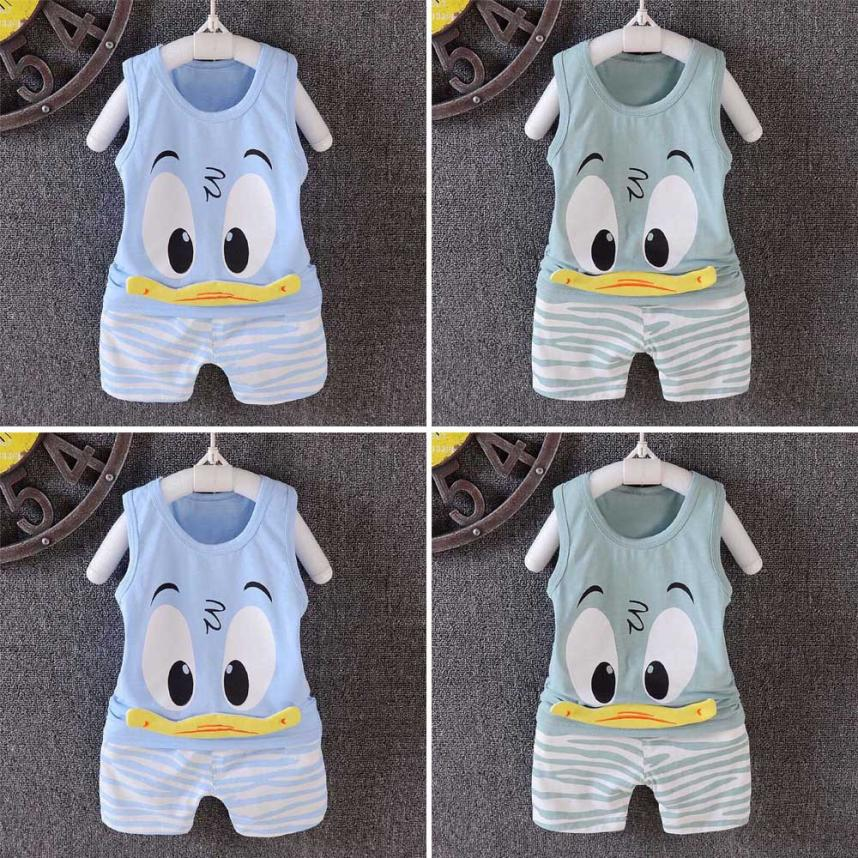 2018 children baby boy set summer baby clothing 2Pcs Toddler Baby Girls Boys Cartoon Vest Tops T Shirt Shorts Outfits Set M14 2pcs children outfit clothes kids baby girl off shoulder cotton ruffled sleeve tops striped t shirt blue denim jeans sunsuit set