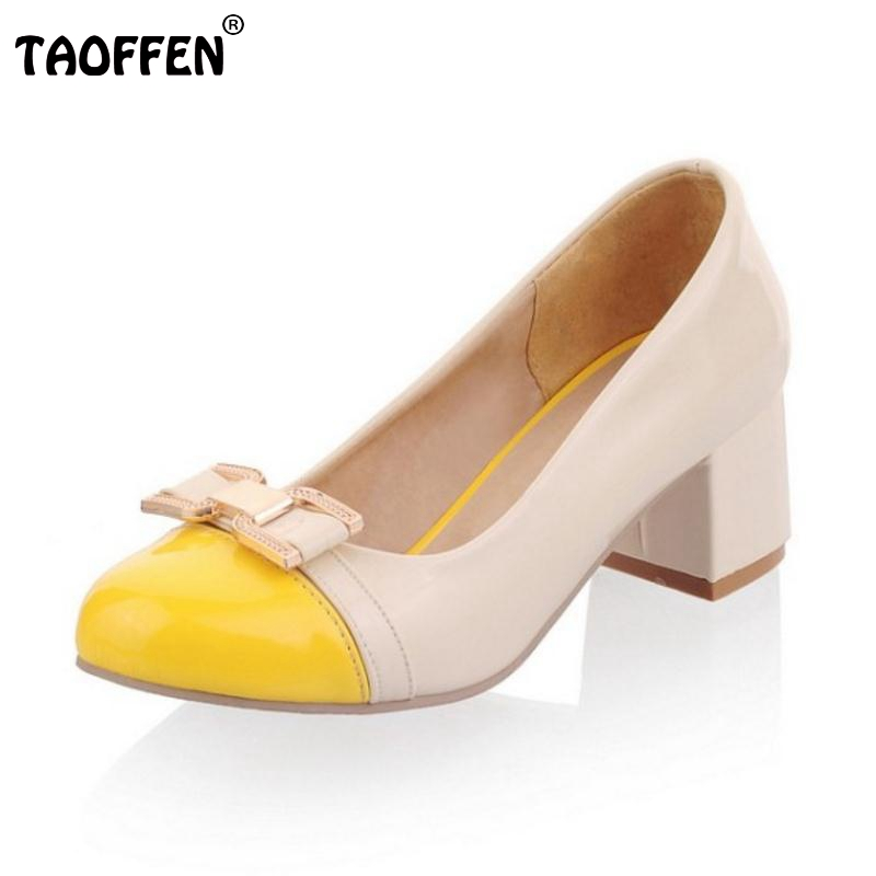 TAOFFEN 4 Color Office Lady Bowknot High Heel Shoes Women Round Toe Bowtie Mix Color Thick Heel Pumps Party Shoes Size 34-39 taoffen size 32 43 4 color women high heels shoes round toe thick heel pumps fashion platform bowknot party wedding footwear
