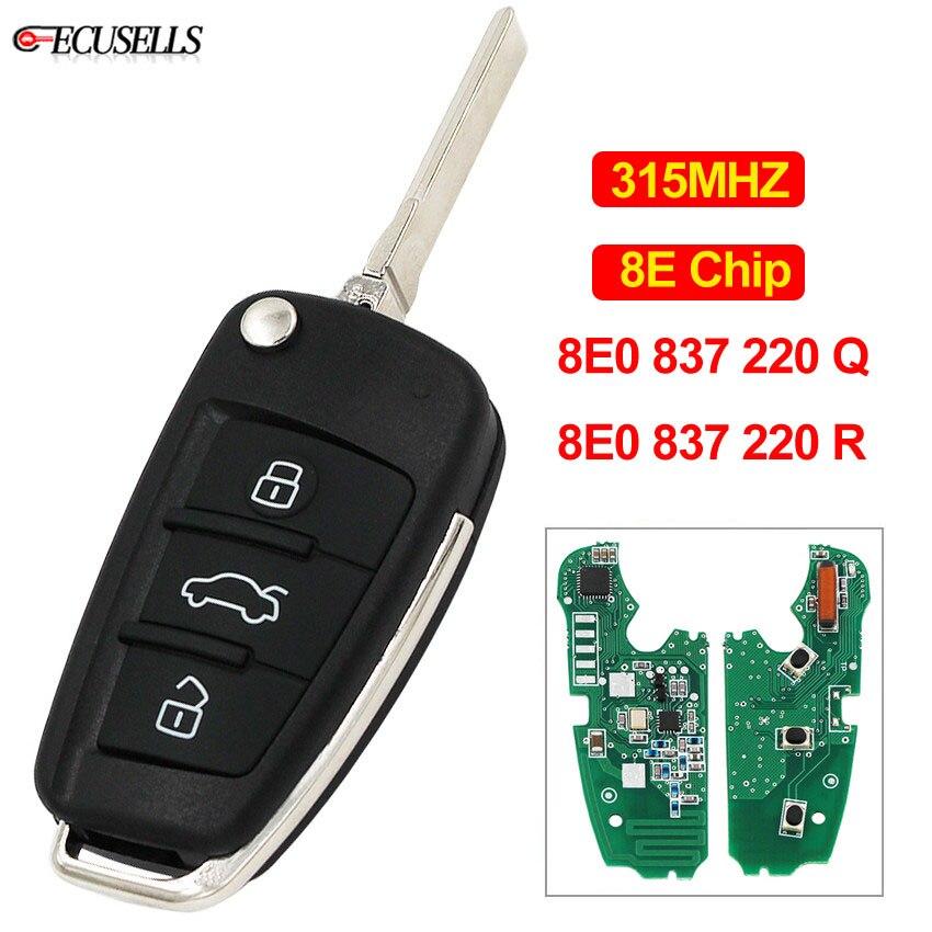 3 Button Folding Remote Smart Car Key 315Mhz 8E Chip 8E0 837 220Q 220R For Audi