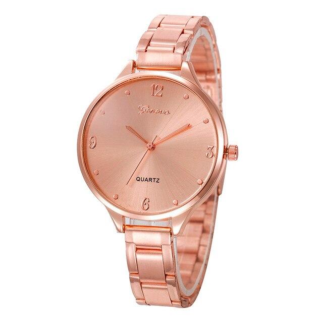 f81be9c0da8 Erkek kol saati Mulheres Ouro Rosa Elegante de Aço Inoxidável Grande  Mostrador do Relógio Moda assista