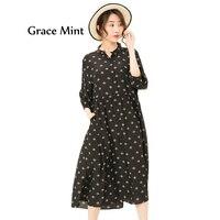 M 3XL плюс Размеры шелковое платье летние платья Для женщин Свободные пятиконечная звезда пчелы печатных платье