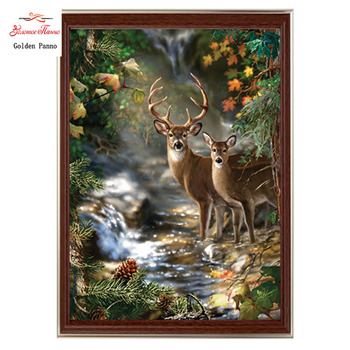 Golden panno,Needlework,Embroidery,DIY Animal Painting,Cross stitch,kits,14ct two deers  forest Cross-stitch,Sets For Embroidery