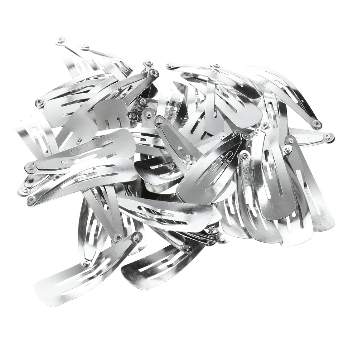 Lot Of 50 Silver Tone Snap Hair Clips 40mm Craft Bow