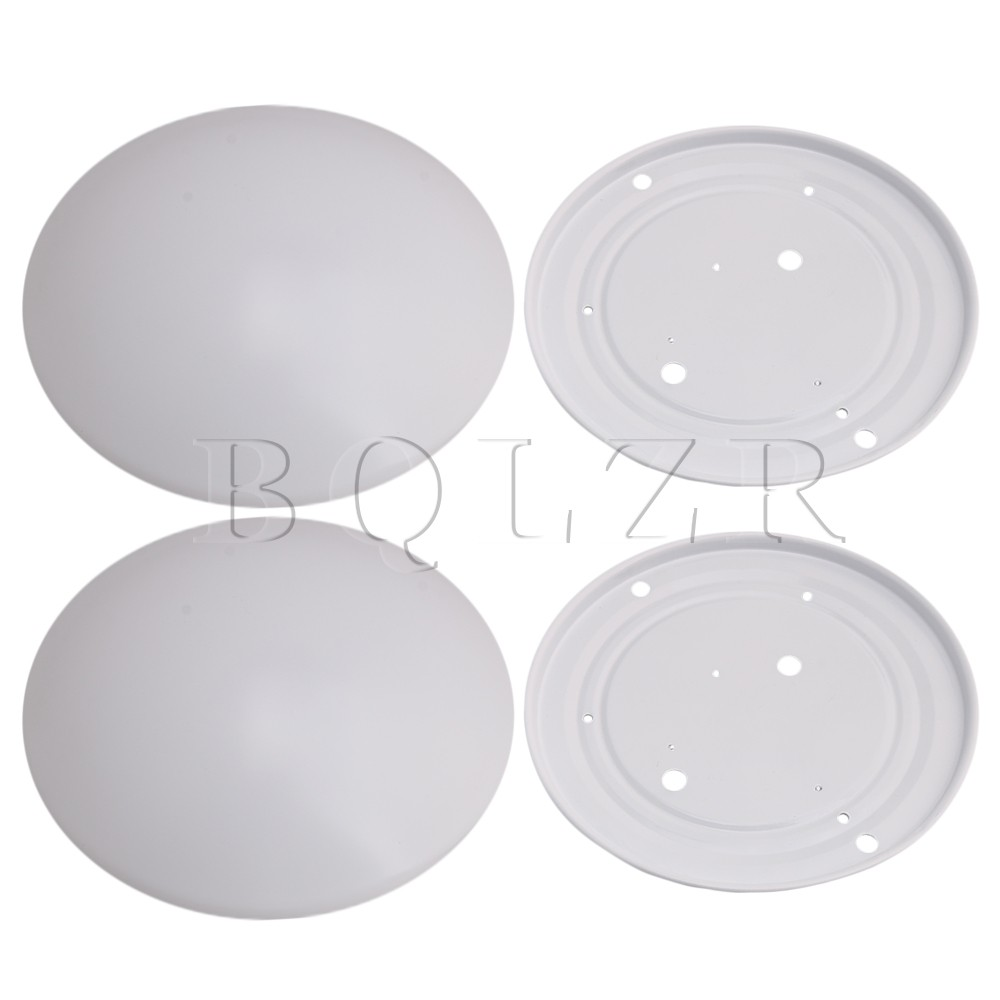 2x BQLR 22x18.3x7.5cm Round White Acrylic Led Ceiling Light Shade Cover Flush Mount with Metal Chassis Home DIY for 9-12W Led