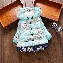 Новая верхняя одежда для девочек детская одежда пальто для маленьких девочек Модная хлопковая зимняя теплая детская куртка с принтом Одежда для детей от 1 до 4 лет
