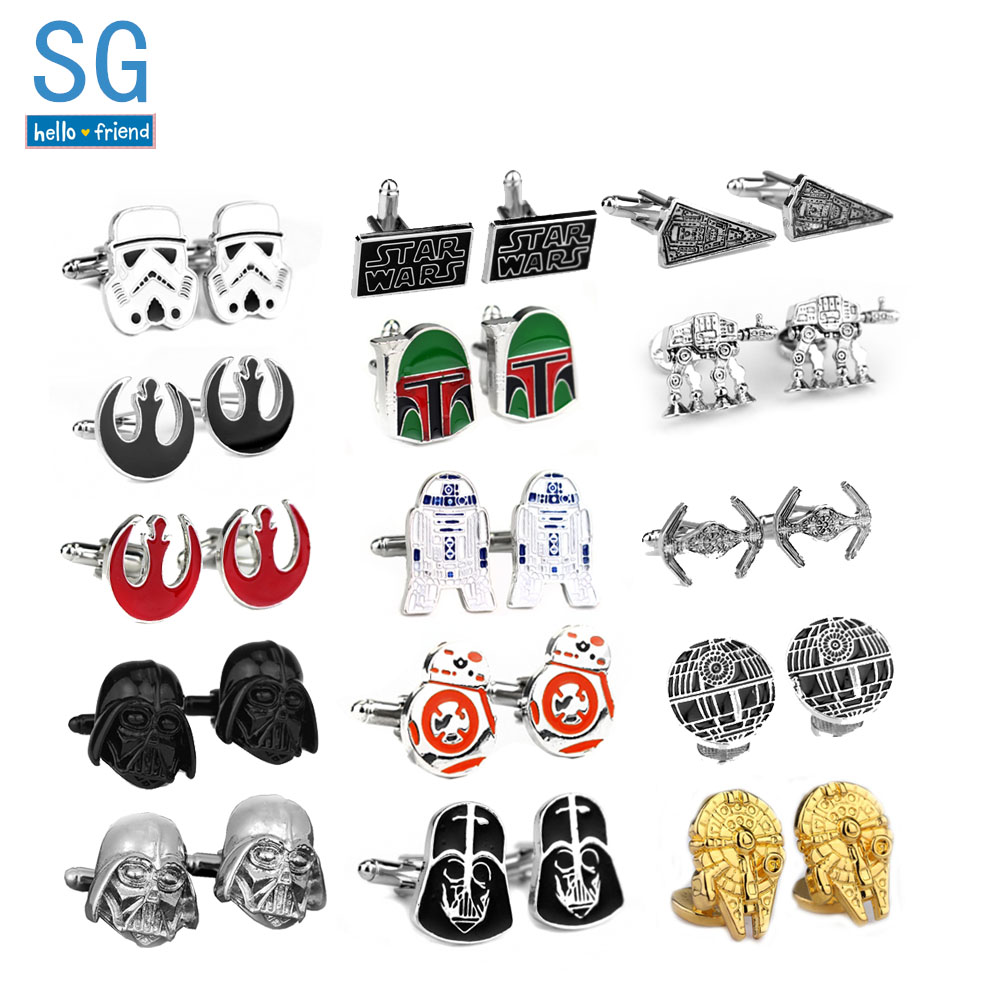 SG Movie Star Wars Cufflinks Falcon Darth Vader BB8 R2D2 Spaceship Tie Clips Avengers Deadpool Flash Men Buttons Party Jewelry