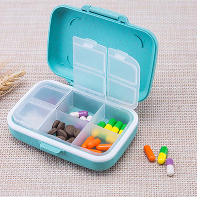 Mini Portable Grain fiber material Pill Container Drug Tablet Storage Travel Case Weekly Carry-on Holder Pill Box Medicine D